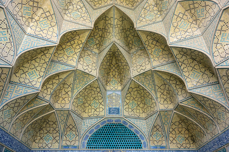 Mosaic pattern of a mosque in Esfahan stock photos