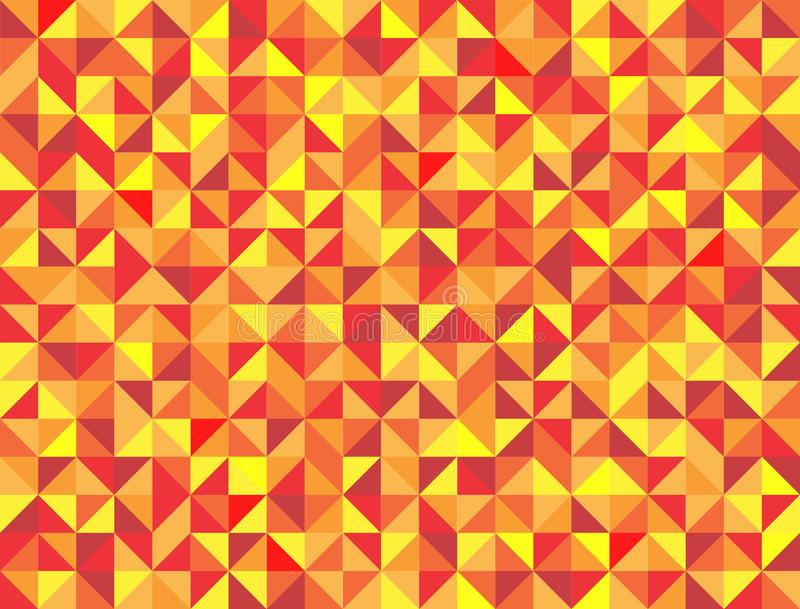 Seamless Red, Orange and Yellow Squares and Triangles Geometric Pattern Background with Mosaic Effect stock illustration