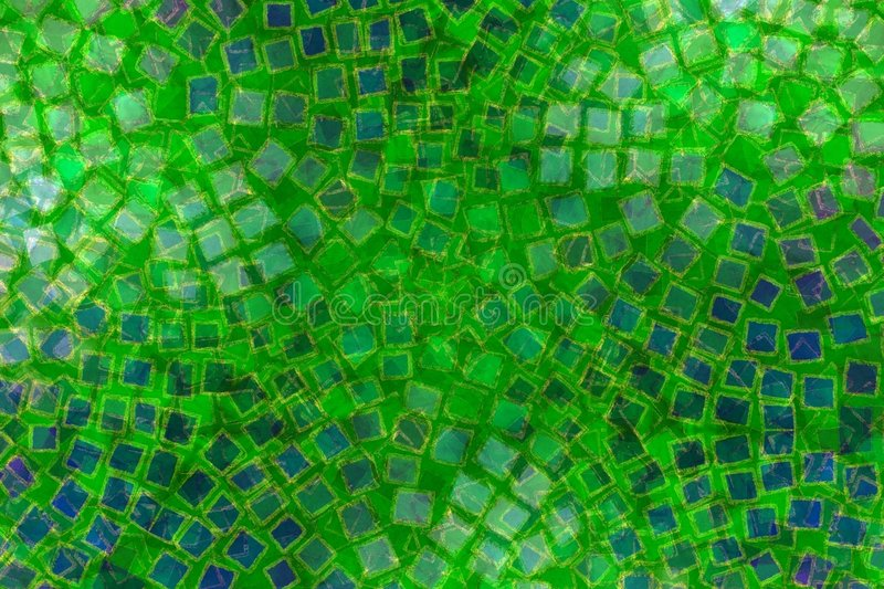 Mosaic Patterns Green Tiles. A texture pattern background featuring circular patterns of small colored tiles and squares in green and blue vector illustration