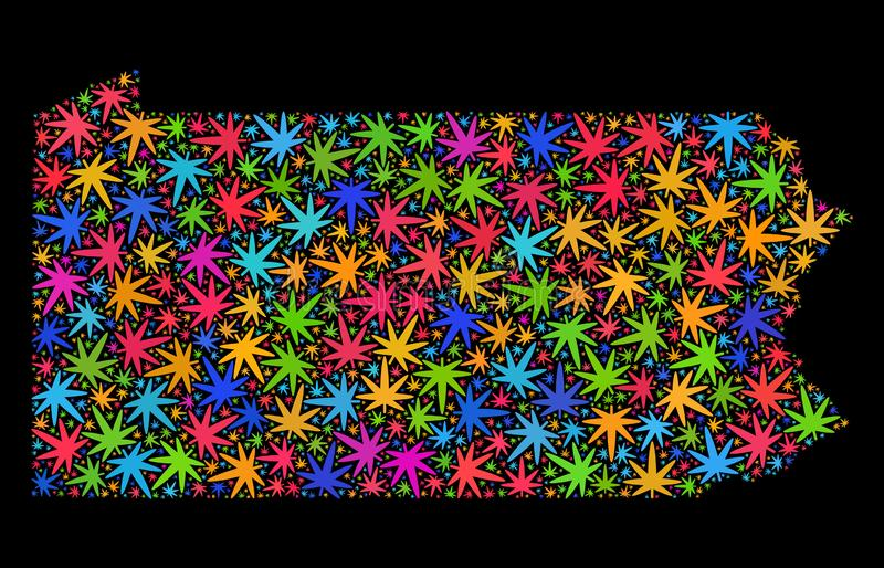 Mosaic Pennsylvania State Map of Multi-Colored Cannabis Leaves stock illustration