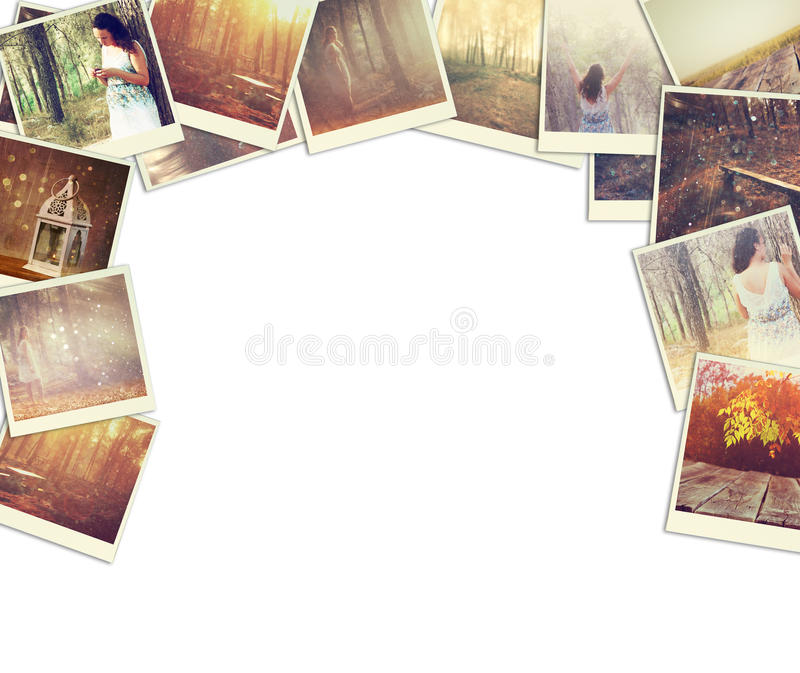 Mosaic with pictures of different scenic and landscapes. collage with retro effect. royalty free stock photo