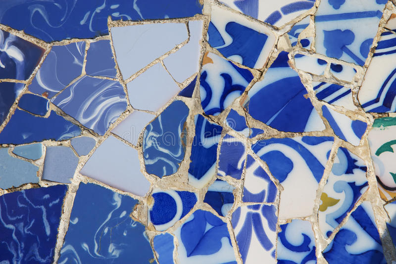 The mosaic of pieces of porcelain stock photo