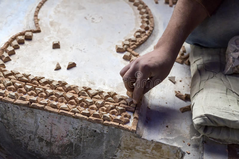 Mosaic production in Morocco royalty free stock photo