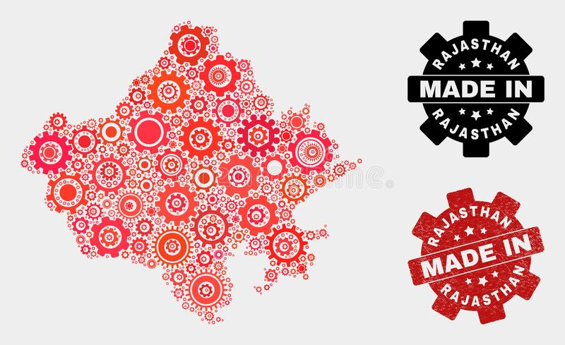 Mosaic Rajasthan State Map of Gear Items and Grunge Stamp royalty free stock images