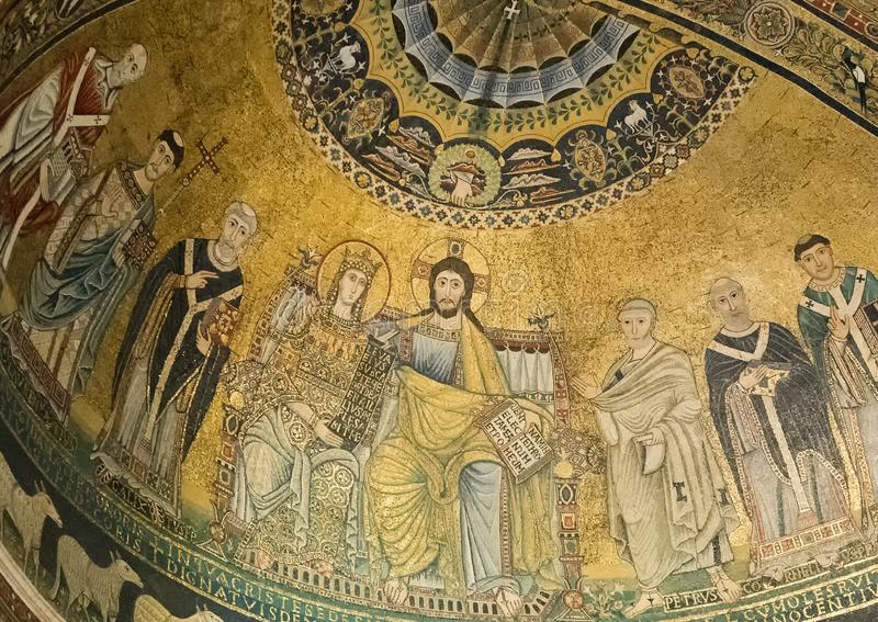 Mosaic representation of the Coronation of the Virgin, Basilica of Santa Maria in Trastevere. Pictured is the mosaic representation of the `Coronation of the royalty free stock photography