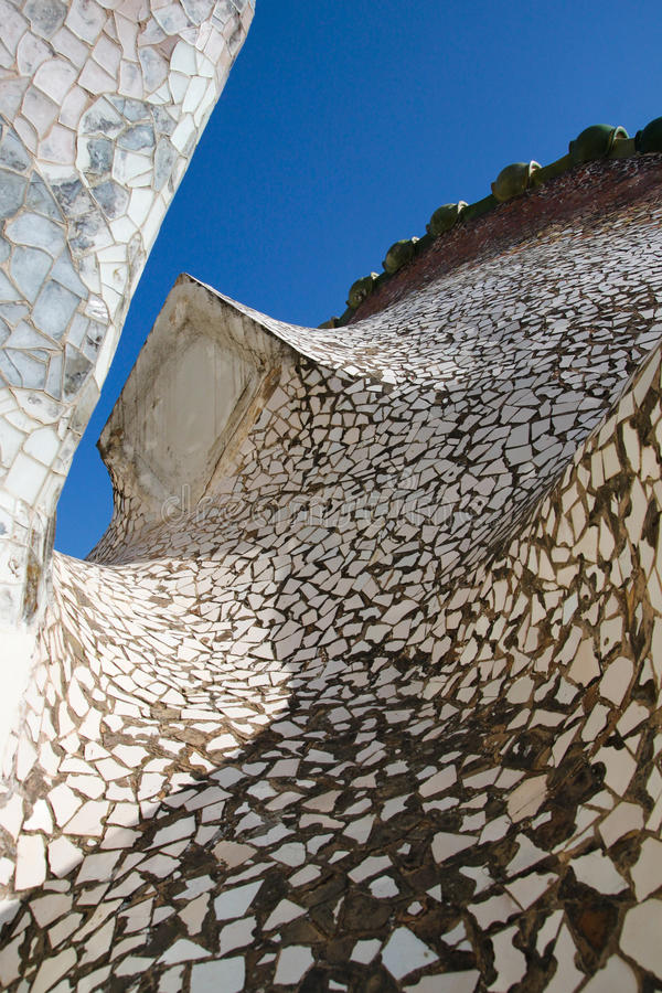 Mosaic roof, casa Batllo by Antoni Gaudi stock photos