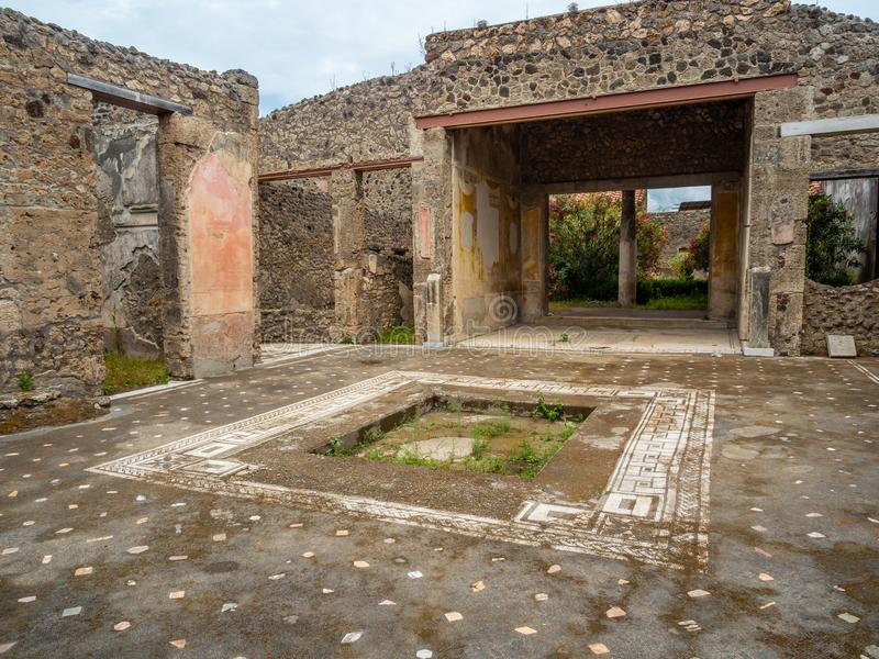 Roman mosaics in Pompeii, Italy. World Heritage List. Mosaic in ruined Roman villa in the ancient Roman city of Pompeii, near modern Naples in Italy. Pompeii stock image