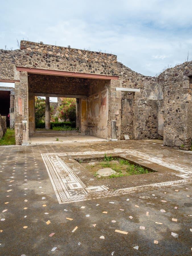 Roman mosaics in Pompeii, Italy. World Heritage List. Mosaic in ruined Roman villa in the ancient Roman city of Pompeii, near modern Naples in Italy. Pompeii royalty free stock photos