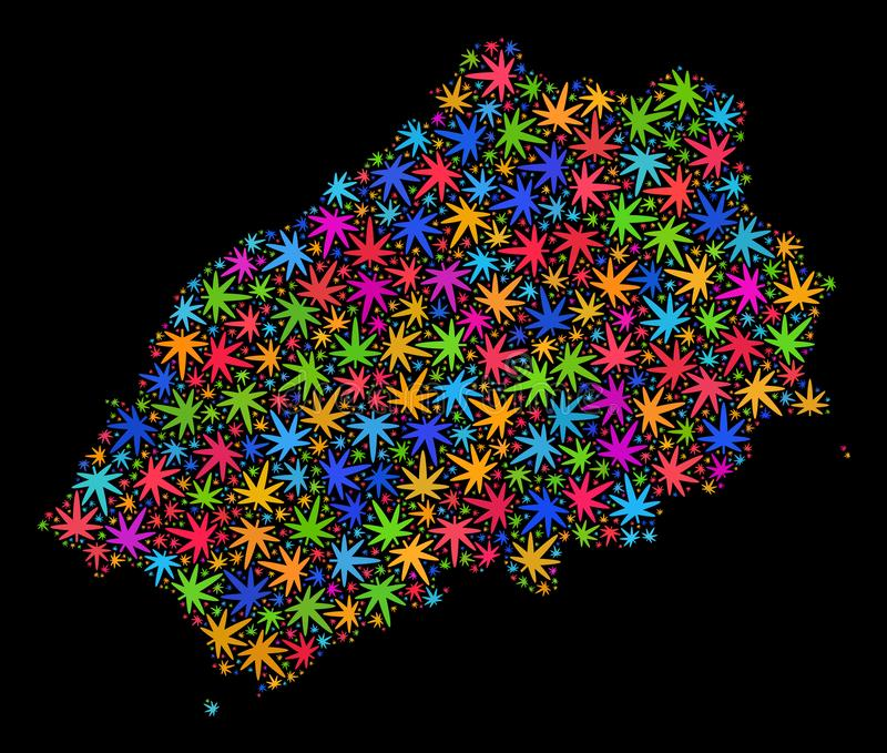 Mosaic Saint Helena Island Map of Multi-Colored Marijuana Leaves royalty free illustration