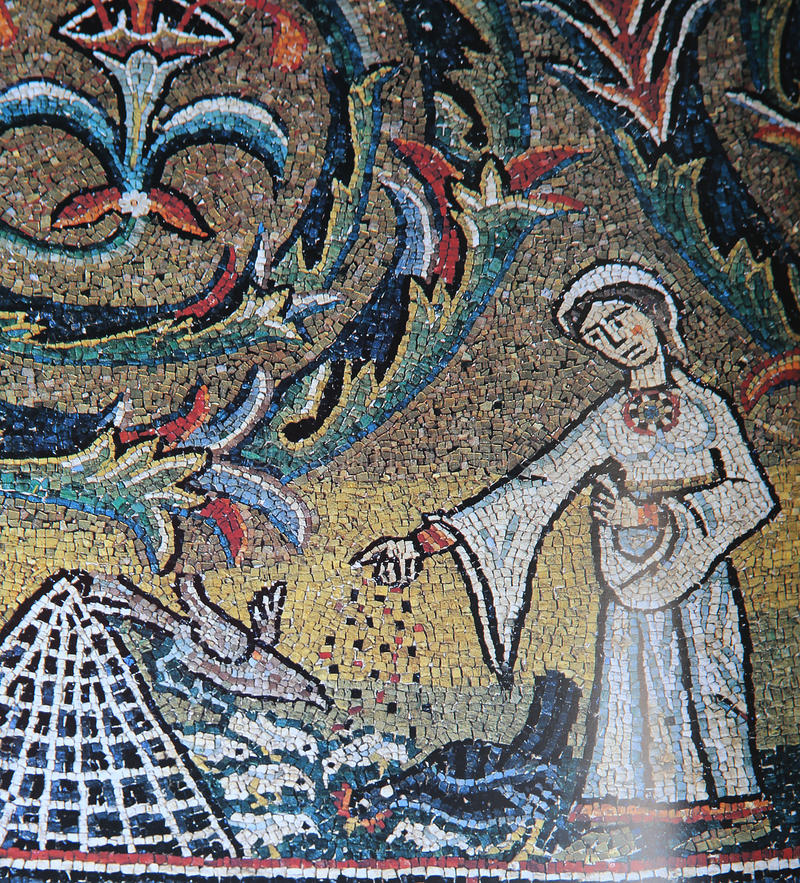 Mosaic in san Clemente church, Rome, Italy stock photography