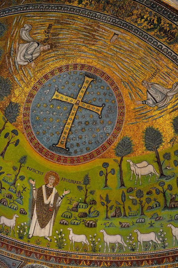 Mosaic Sant'Apollinare Italy stock images