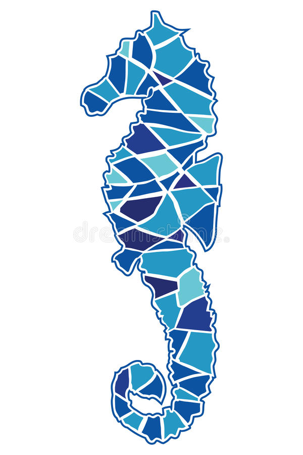 Download Mosaic Seahorse stock vector. Image of happy, child, pattern - 10051382