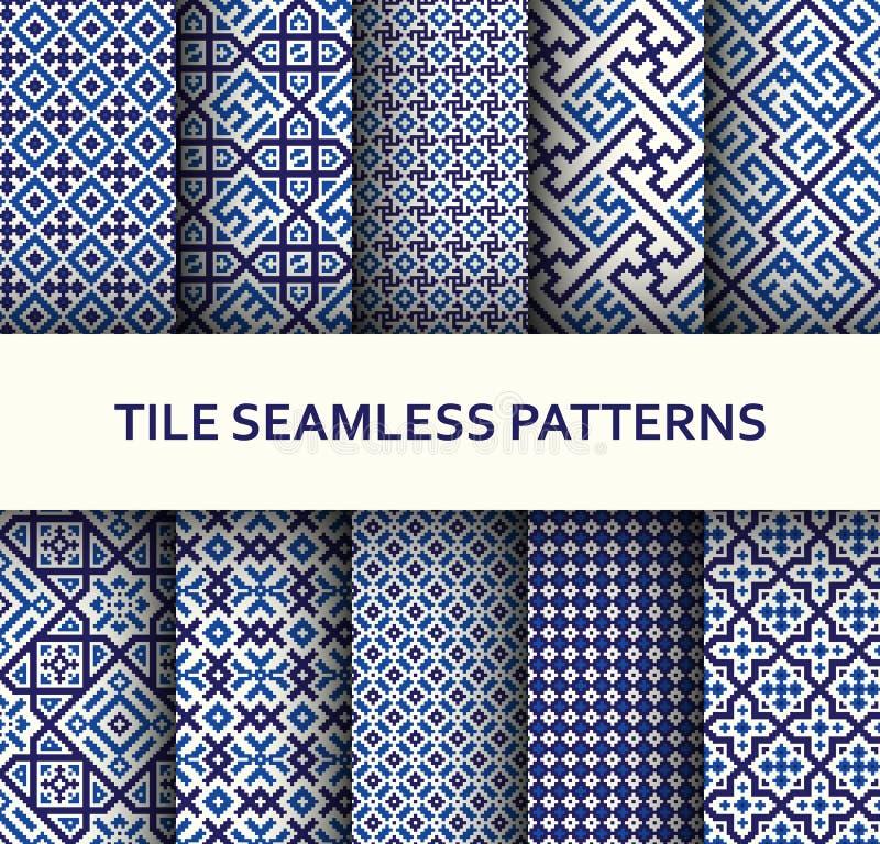 Mosaic seamless patterns set. Modern geometric textures royalty free illustration