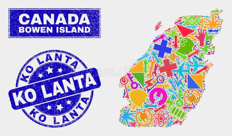 Mosaic Tools Bowen Island Map and Grunge Ko Lanta Watermark. Mosaic service Bowen Island map and Ko Lanta seal stamp. Bowen Island map collage constructed with stock illustration
