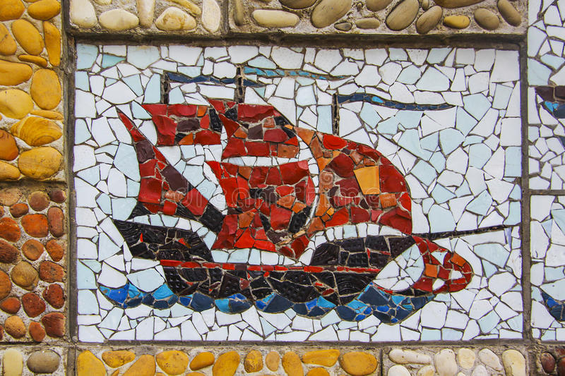 Mosaic ship. Square background filled with colorful mosaic stock photo