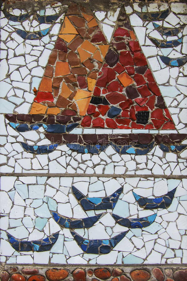 Mosaic ship. Square background filled with colorful mosaic royalty free stock image