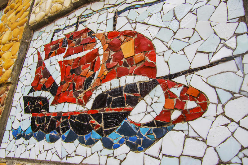 Mosaic ship. Square background filled with colorful mosaic stock photography