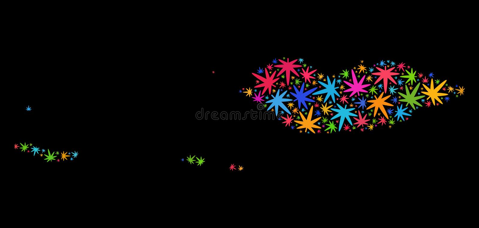 Mosaic Socotra Archipelago Map of Colorful Cannabis Leaves. Bright vector cannabis Socotra Archipelago map mosaic on a black background. Concept with colored vector illustration