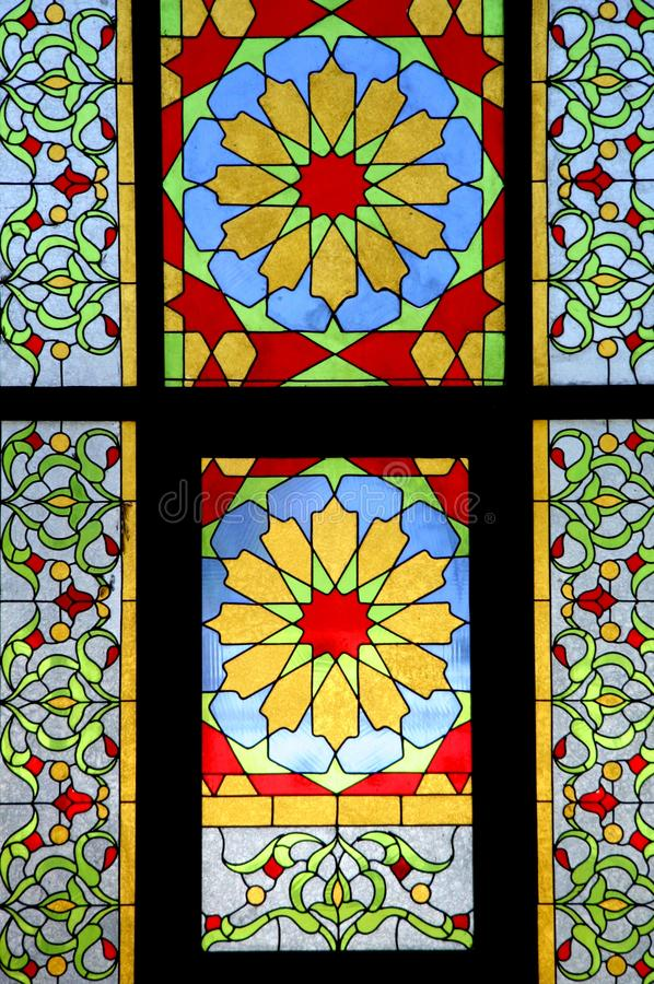 Mosaic of stained glass. In mosque stock image