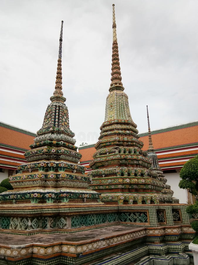 Mosaic stupa at Wat Pho, temple in Thailand stock photography