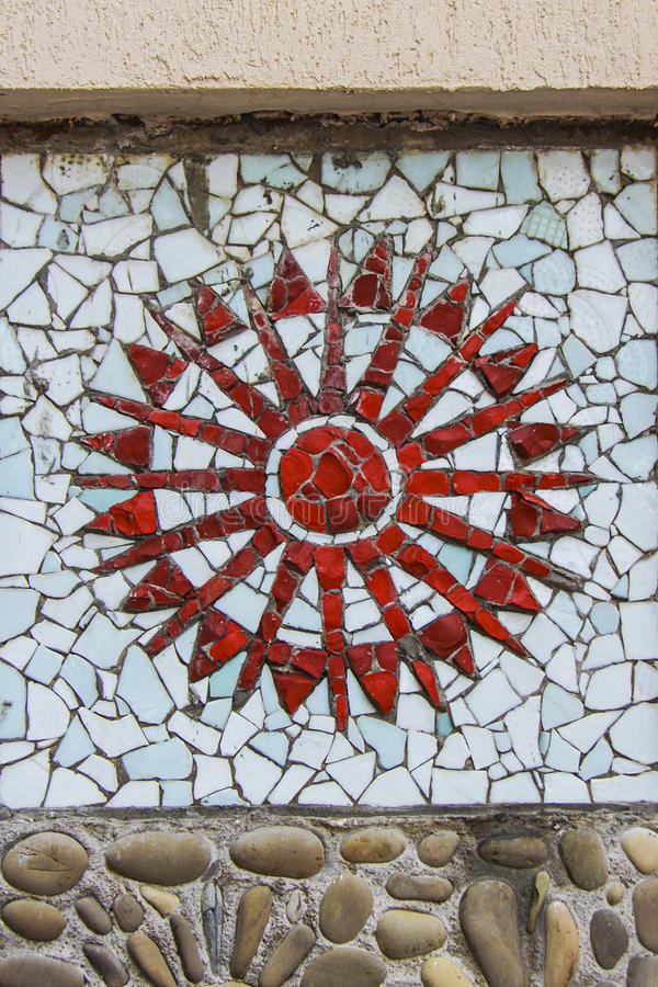 Mosaic sun. Square background filled with colorful mosaic royalty free stock photo