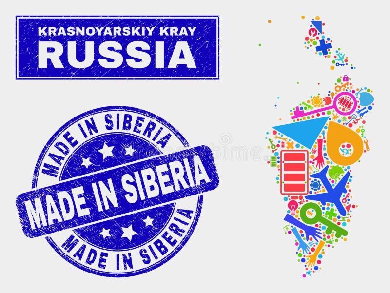 Mosaic Technology Krasnoyarskiy Kray Map and Distress Made in Siberia Stamp. Mosaic service Krasnoyarskiy Kray map and Made in Siberia watermark. Krasnoyarskiy stock illustration