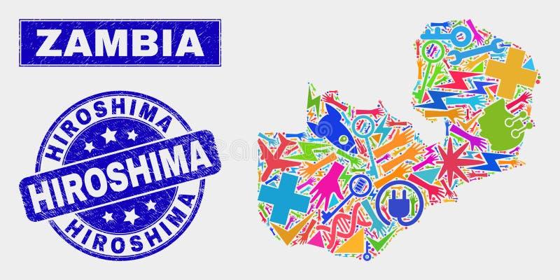 Mosaic Technology Zambia Map and Grunge Hiroshima Watermark. Mosaic tools Zambia map and Hiroshima watermark. Zambia map collage formed with scattered bright royalty free illustration