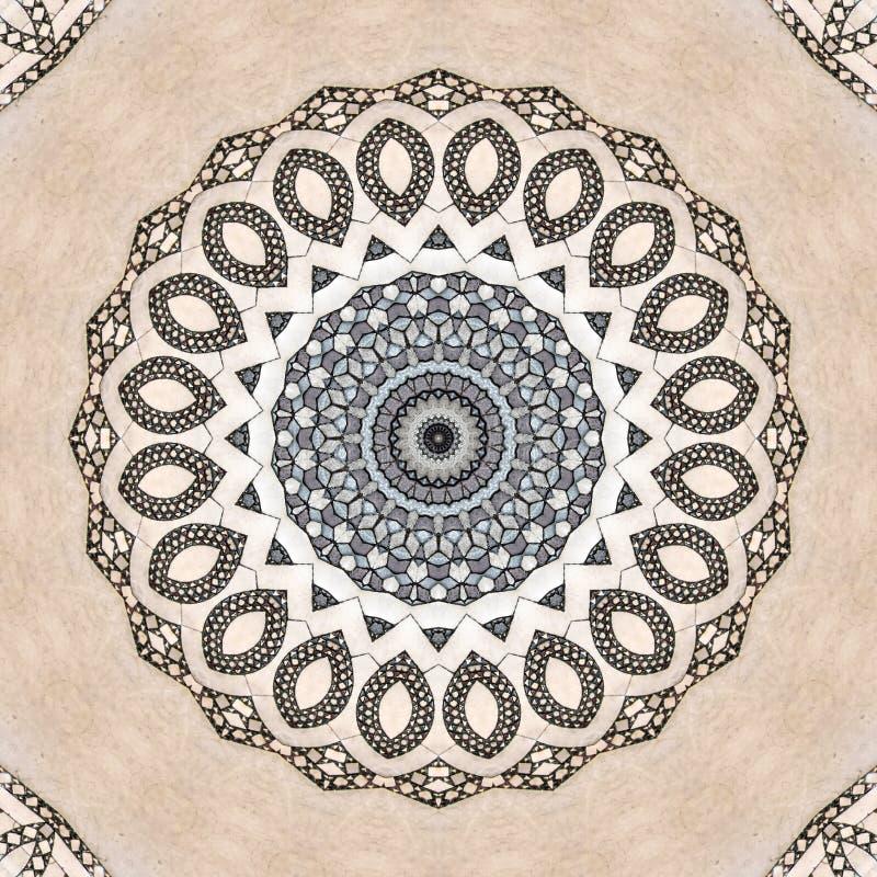 Mosaic texture, marble floor seen through kaleidoscope. Digital art design. Abstract texture of a mosaic  in different gray. A marble floor seen through stock illustration