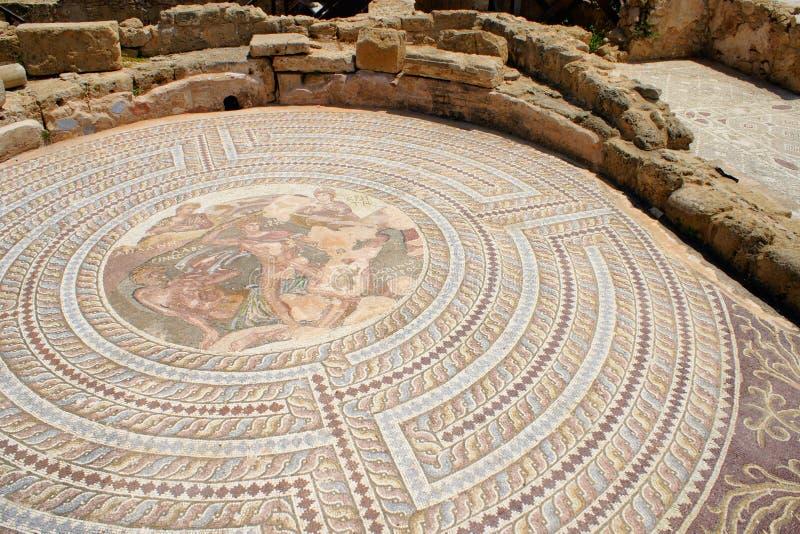 Mosaic at Theseus house - Paphos, Cyprus stock photos