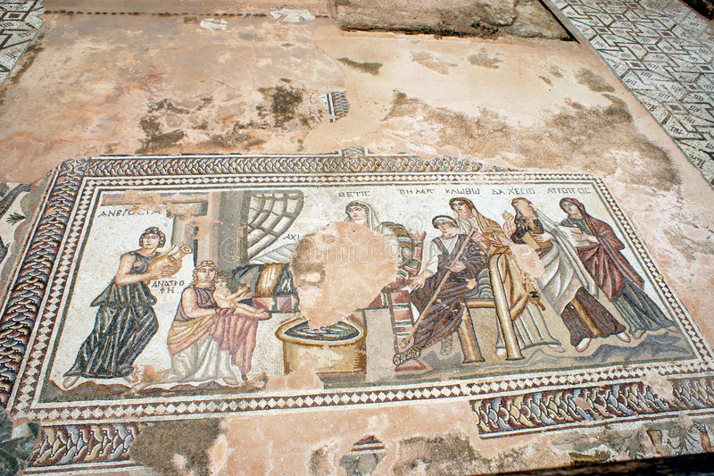 Mosaic at Theseus house - Paphos, Cyprus royalty free stock photos