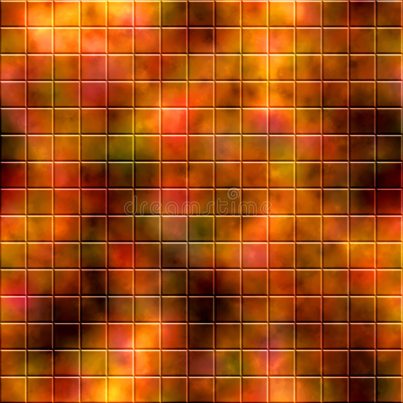 Mosaic Tile Background. Colorful background of shadowy mosaic seamless design of orange, brown, and green autumn tones tile boxes or cubes vector illustration