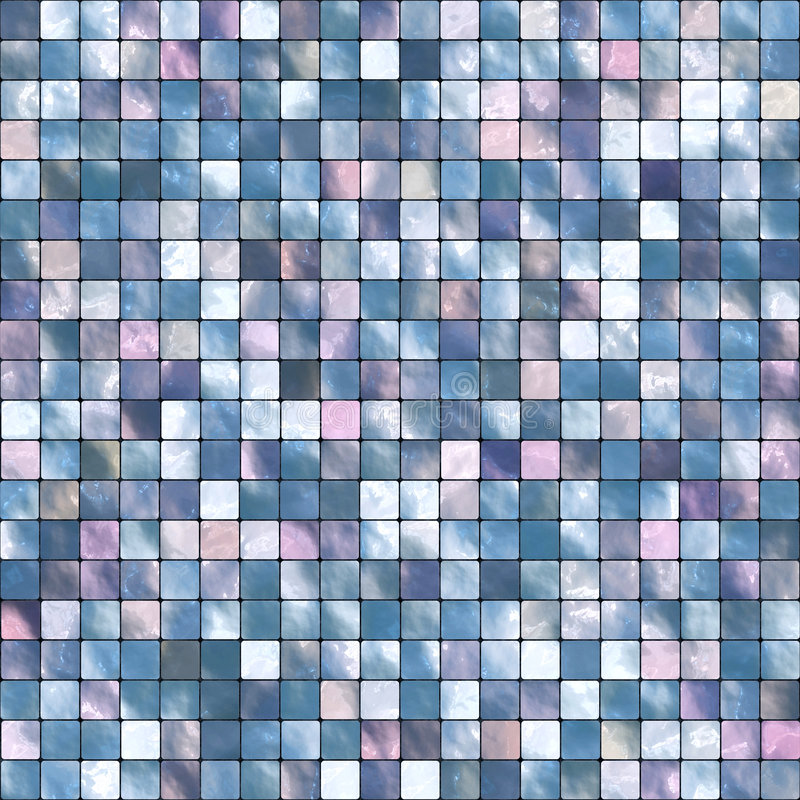 Mosaic Tile Background. Colorful background mosaic design of shiny tile boxes or cubes in blue, purple and white tones. Can be tiled seamlessly vector illustration