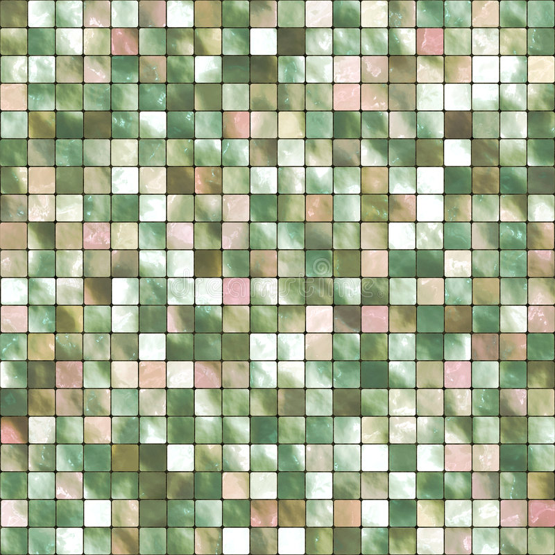 Mosaic Tile Background. Colorful background mosaic design of shiny tile boxes or cubes in green and white tones. Can be tiled seamlessly stock illustration