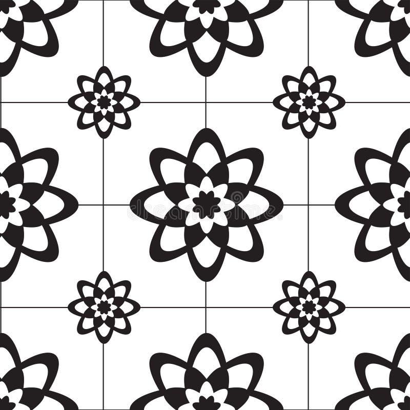 Mosaic tile in flower pattern stock illustration