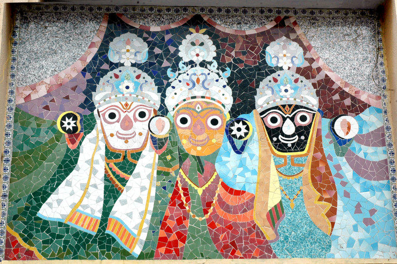 Mosaic tiles art of Jagnnath Temple,Ahmedabad. The famous Jagannath (Jagdish) Temple at Ahmedabad, Gujarat, India from where every year Rath Yatra begins stock photography