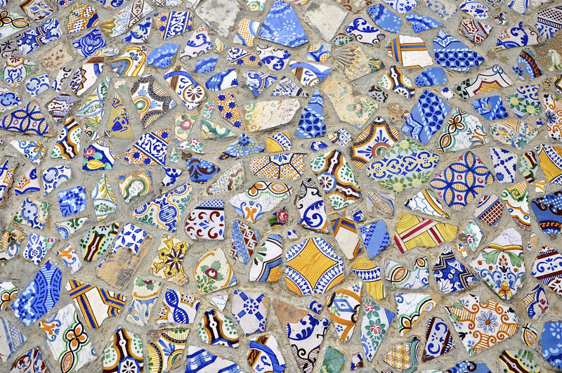Mosaic tiles floor design. Tunisia. Tunis - old town (medina) seen from roof top. Ornamental arches and wall covered tiles with geometric shape motifs stock photos