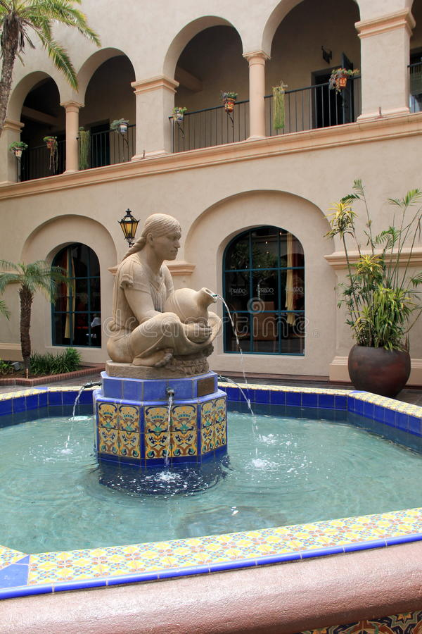 Mosaic tiles in water fountain, set in courtyard, Balboa Park, San Diego, California, 2016 royalty free stock photography
