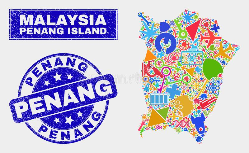 Mosaic Tools Penang Island Map and Scratched Penang Stamp. Mosaic service Penang Island map and Penang seal stamp. Penang Island map collage created with royalty free illustration