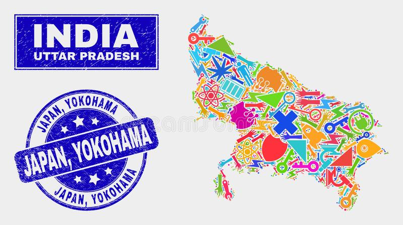 Mosaic Tools Uttar Pradesh State Map and Scratched Japan, Yokohama Seal. Mosaic technology Uttar Pradesh State map and Japan, Yokohama seal stamp. Uttar Pradesh royalty free illustration