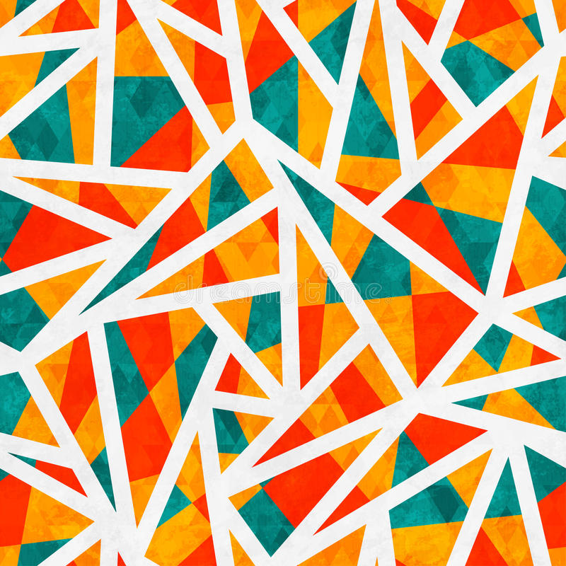 Mosaic triangle seamless pattern with grunge effect. (eps 10 stock illustration