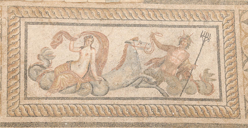 Mosaic of Triton in Terrace Houses, Ephesus Ancient City. Izmir, Turkey royalty free stock photo