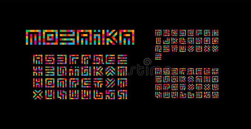 Mosaic ukrainian, english and russian alphabet. Maze typography design. Creative art style vector latin letters from. Squares. Font for events, promotions royalty free illustration