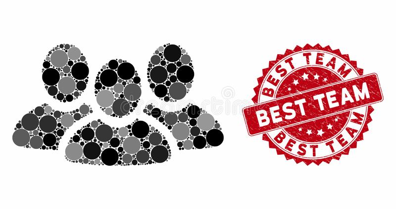 Mosaic User Group with Scratched Best Team Seal royalty free illustration