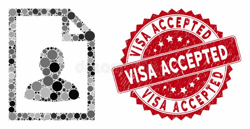 Mosaic User Page with Grunge Visa Accepted Seal royalty free illustration
