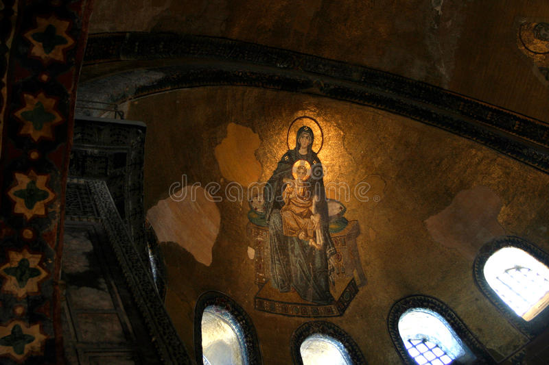 Mosaic of Virgin Mother and Child at Hagia Sophia stock photo