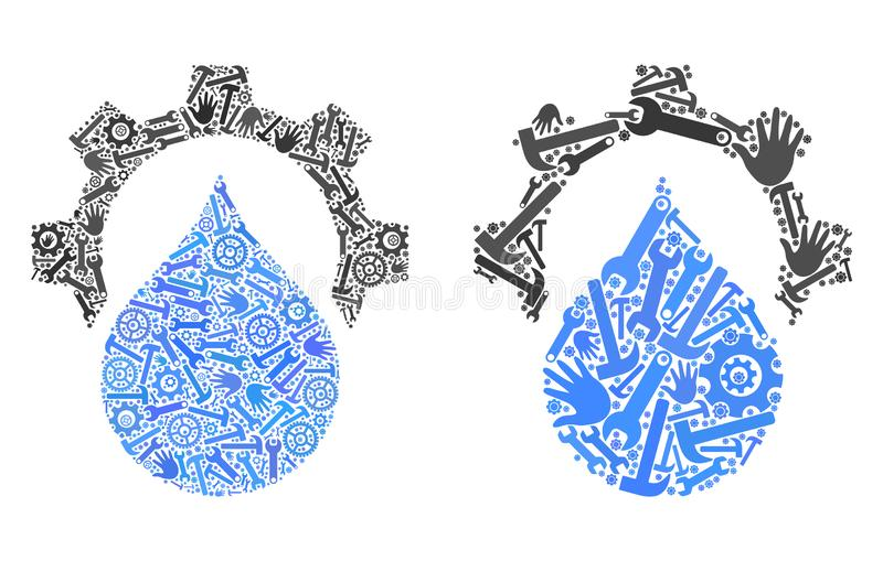 Mosaic Water Supply Service Gear Icons of Service Tools royalty free illustration