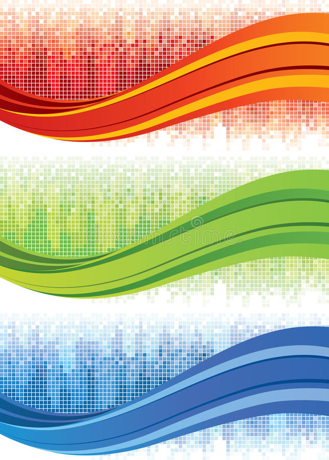 Mosaic Wave Banners stock illustration