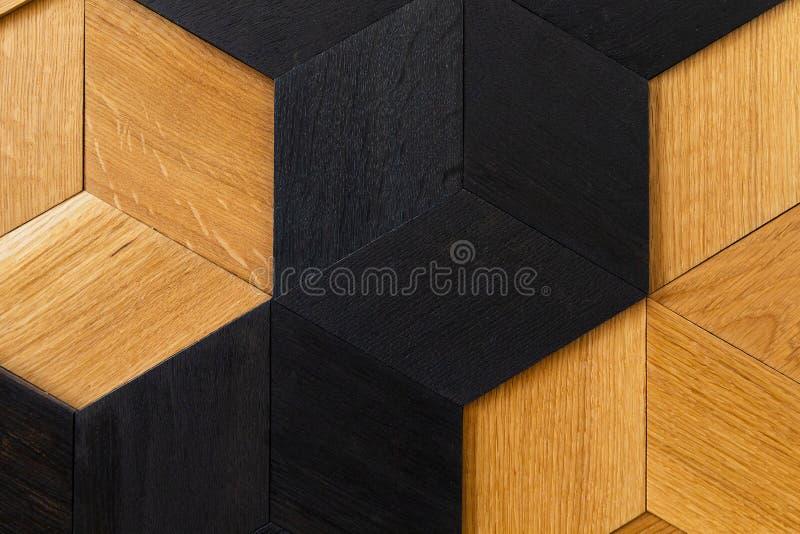 Mosaic of wood closeup, wall decoration. Modern design, natural wood texture royalty free stock photo