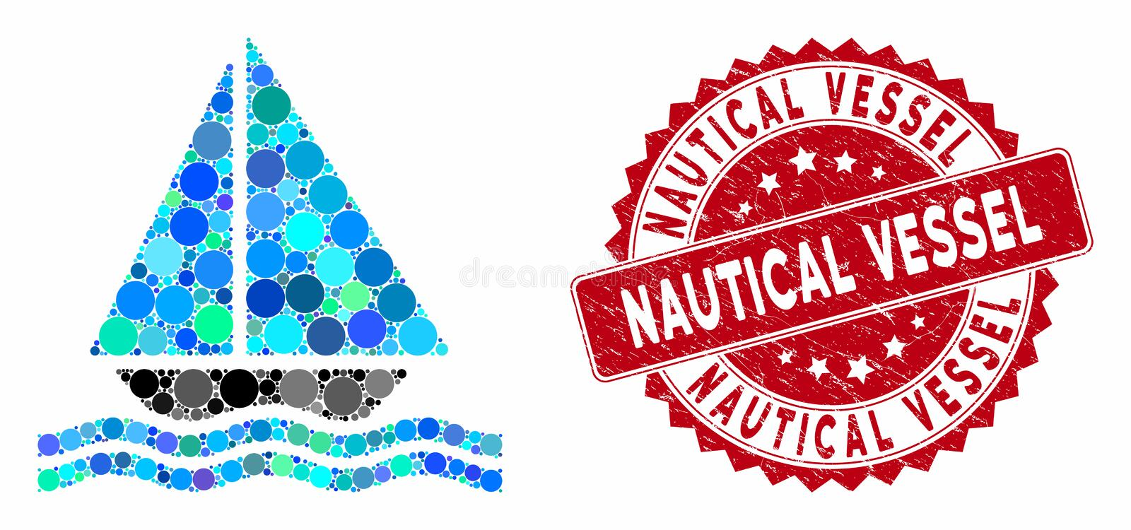 Mosaic Yacht with Scratched Nautical Vessel Stamp stock illustration