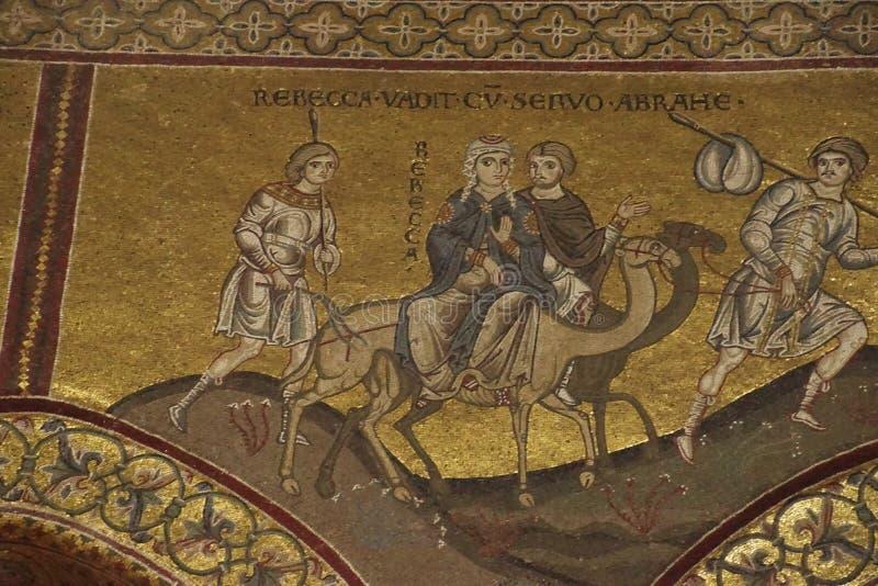 Mosaici che mostrano storia del volo del ther nell'Egitto dalla famiglia santa immagini stock libere da diritti